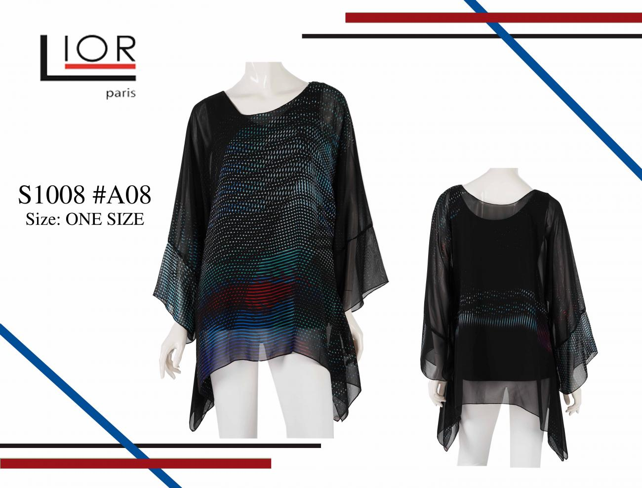 Sheer Chiffon one size top S1008 - A08 - TheLittleShopOnline.com